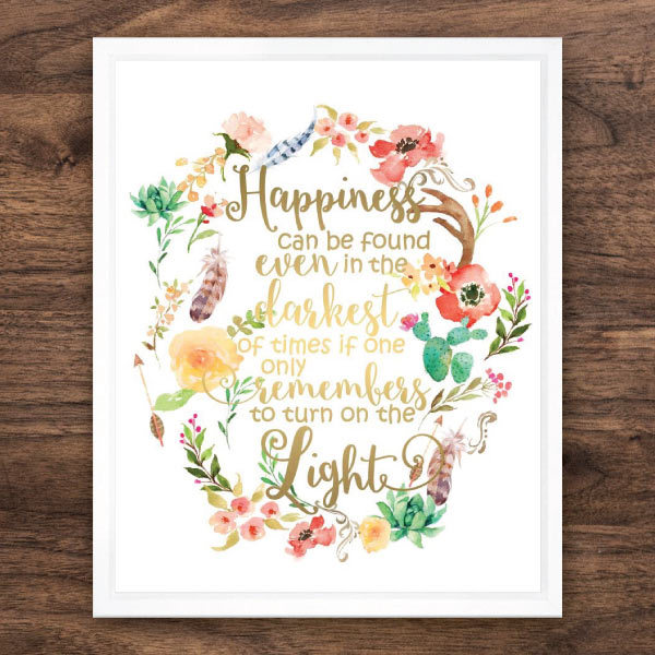 harry potter dumbledore quote floral art
