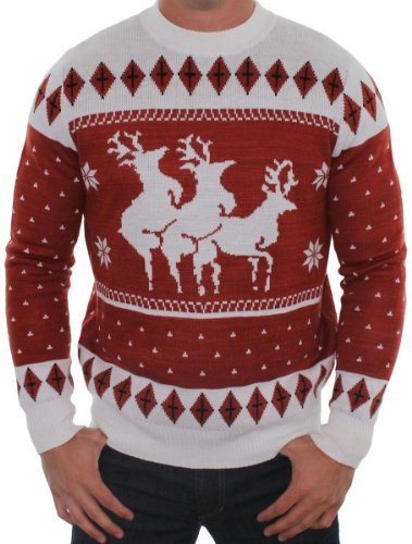 Ugly Christmas Sweater - Reindeer Menage a Trois Sweater by Tipsy Elves