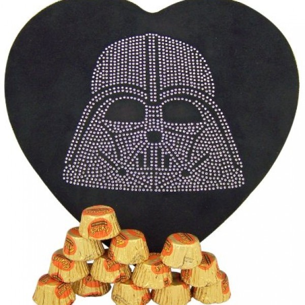 Hard-to-Find-Rare-Star-Wars-Lover-Collectible-Gift-Rhinestone-Jeweled-Darth-Vader-Head-Heart-Shape-Felt-Candy-Box-with-Reeses-Peanut-Butter-Cup-Candies-0-0