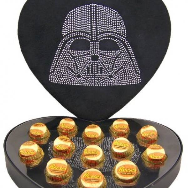 Hard-to-Find-Rare-Star-Wars-Lover-Collectible-Gift-Rhinestone-Jeweled-Darth-Vader-Head-Heart-Shape-Felt-Candy-Box-with-Reeses-Peanut-Butter-Cup-Candies-0-2