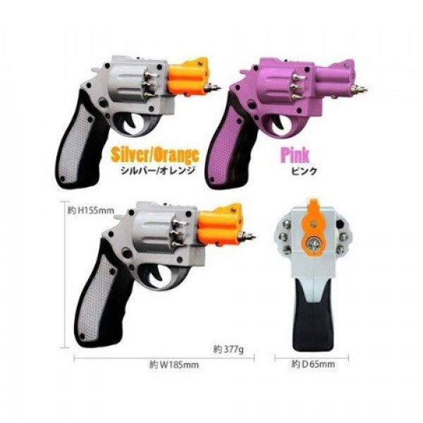Pink-Revolver-Shaped-Screwdriver-Rechargeable-With-Drill-Bits-0-0