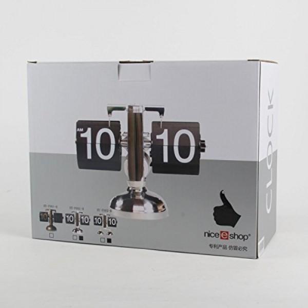 niceeshopTM-Retro-Flip-Down-Clock-Internal-Gear-OperatedBlack-With-Accessory-Cable-Tie-0-1