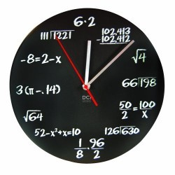 DCI Matte Black Powder Coated Metal Mathematics Blackboard Pop Quiz Clock, 11-1/2″ Diameter