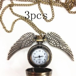 Harry Potter Golden Snitch Pendant Pocket Watch Necklace Wings Chain Gift (3pcs only $12.49)