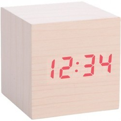 Kikkerland AC22 Clap-On Cube Alarm Clock, Light Wood