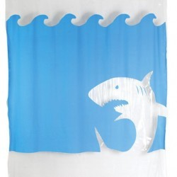 Kikkerland Jaws Shower Curtain, 72-Inch by 72-Inch