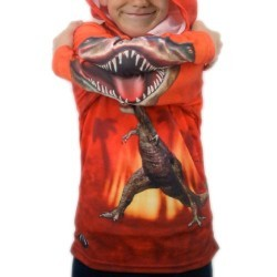 MouthMan® Unisex-Child T-Rex Hoodie Shirt Red 8