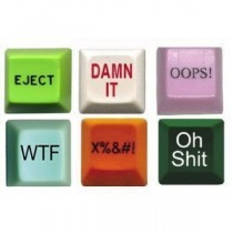 Novelty Computer Keys (6 pack) – Eject Button, Oops, Damn It, WTF, Curse, Oh Shit Key